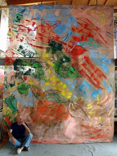 L'Enfance, acrylique sur jute, 3.30 x 4 m, 2017