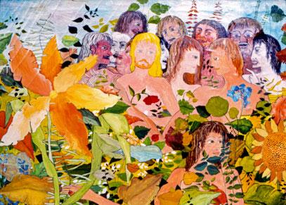 LE BONHEUR ET LES MONSTRES, huile sur toile, 100 x 120 cm, 1974