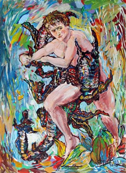EROS & THANATOS, acrylique sur toile, 73 x 100 cm, 2020