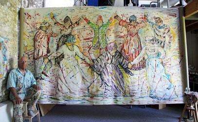 LA DANSE, acrylique sur toile, 10m x 2m15 - Partie Centrale, 2020