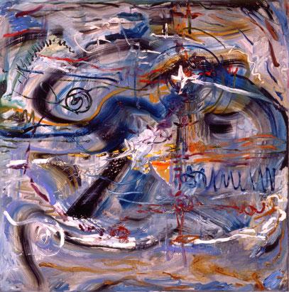 SENDERO AZUL, huile sur toile, 100 x 100 cm, 1992
