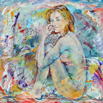JEUNE FEMME, acrylique sur toile, 80 x 80 cm, 2020