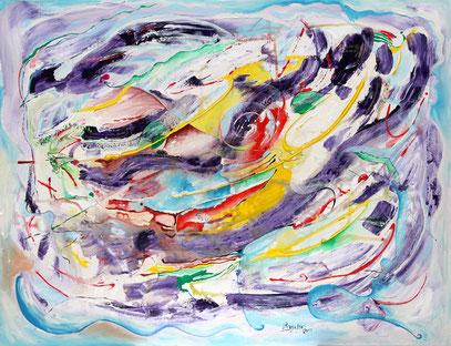 L'OISEAU BLEU, acrylique sur toile, 100 x 90 cm, 2012