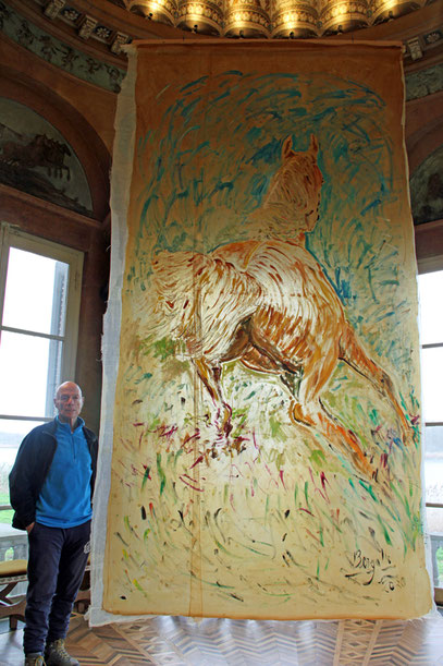 CHEVAL, acrylique sur Papur, 2 x 4 m, 2020
