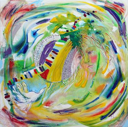 CHANSON D'AMOUR À LA TERRE, acrylique sur toile, 80 x 80 cm, 2021