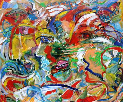 GULLIVER, acrylique Sur toile, 120 x 100 cm, 2009