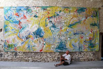 LE CHANT, acrylique sur toile, 7 m x 3 m, 2020
