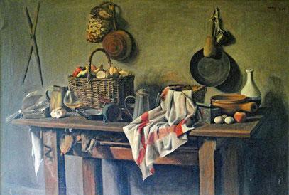 NATURALEZA MUERTA, huile sur toile, 180 x 140 cm, 1965 - Collection Rajchman - Montevideo, Uruguay