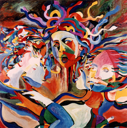 MEDUSA Y LOS POETAS, huile sur toile, 100 x 100 cm, 1994