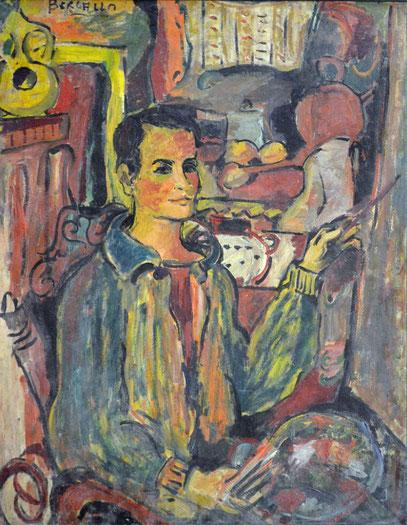 AUTOPORTRAIT, huile sur carton, 81 x 105 cm, 1963