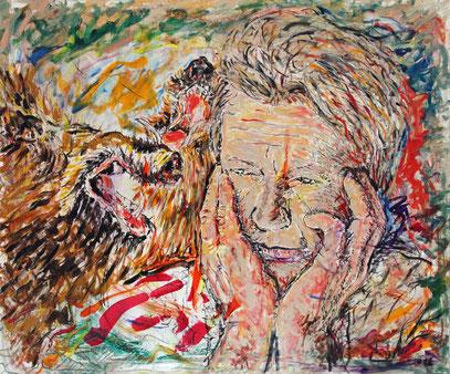 MARIO Y LOS JABALIS, acrylique sur toile, 120 x 100 cm, 2006
