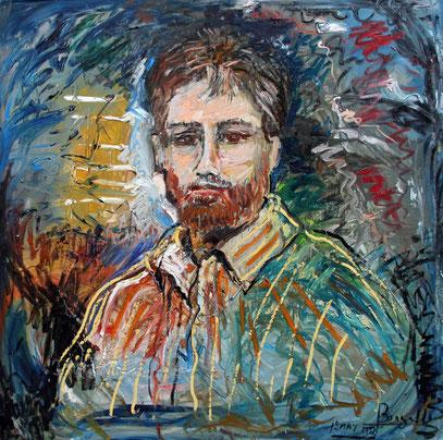 PORTRAIT DE FREEK, acrylique sur toile, 100 x 100 cm, 1992