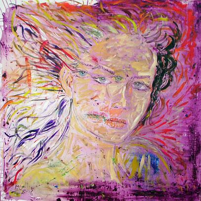 SALOMÉ - MERE/FILLE, acrylique sur toile, 100 x 100 cm, 2006