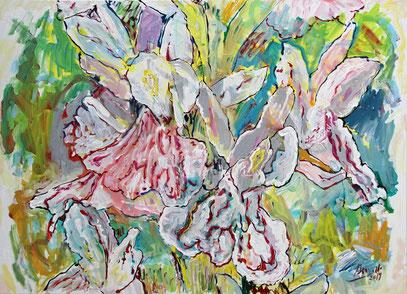 ORCHIS POURPRE, 100 x 73  cm, acrylique  sur toile, 2019