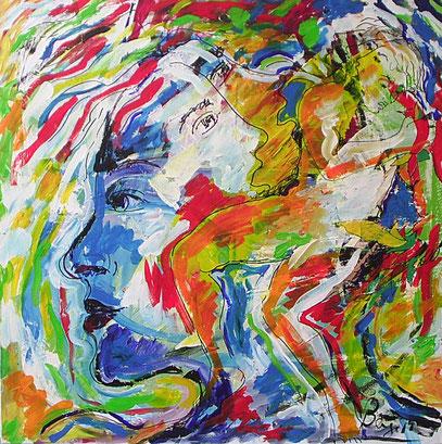 DESDE EL RECUERDO, acrylique sur toile 100 x 100 cm, 2001
