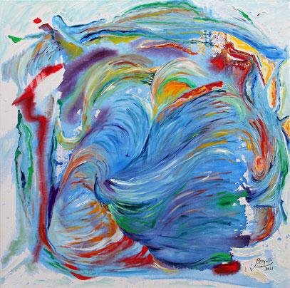 LE SOUFFLE, acrylique sur toile, 80 x 80 cm, 2021