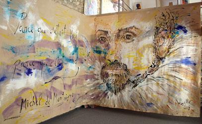 MICHEL DE MONTAIGNE, acrylique sur toile, 7 x 3 m, 2017