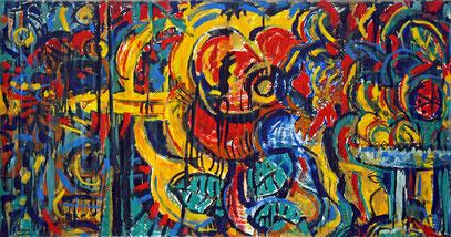 LE BANQUET D'HÉRODE, acrylique sur toile, 4,10 m x 2,20 m, 1984