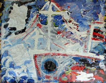 LA DÉCOUVERTE, acrylique et collage sur toile, 125 x 100 cm, 1988