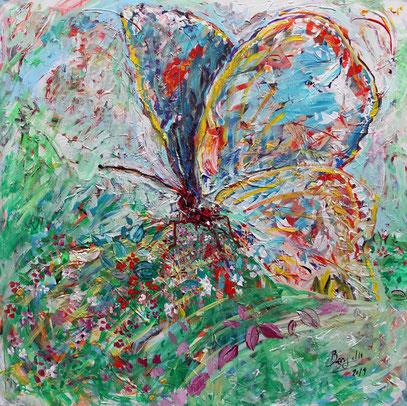 PAPILLON, acrylique sur toile, 100 x 100 cm, 2019