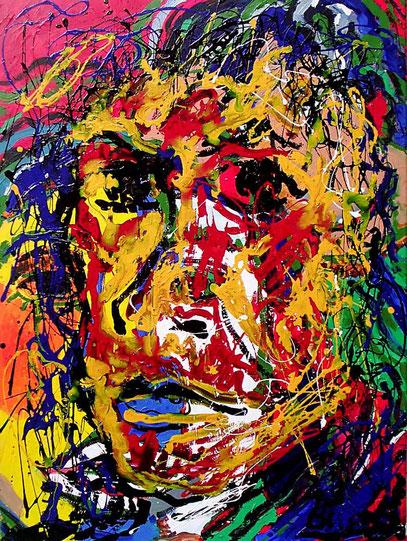 ROSTRO DE UN POETA, acrylique sur toile, 60 x 80 cm, 1999