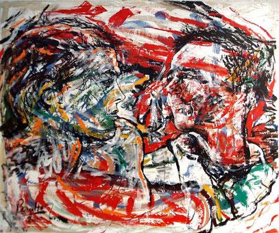LOS AMIGOS, huile sur toile, 120x 100 cm, 2000