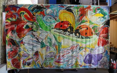 COCCINELLES, acrylique sur toile, 355 x 215 cm, 2019