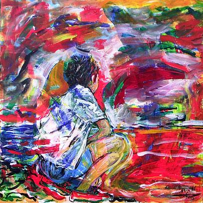 LA ESPERA, acrylique sur toile, 90 x 90 cm, 2006