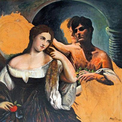 SANTIAGO NON FINITO, Huile sur toile, 100 x 100 cm, 1980