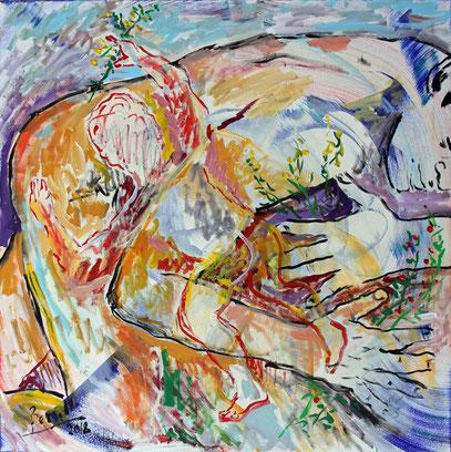 RENAISSANCE, acrylique sur toile, 100 x 100 cm, 2018