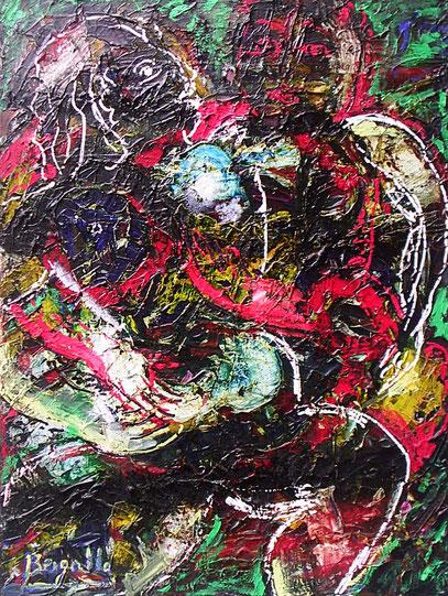 LA DAMA EN BLANCO Y NEGRO, acrylique sur toile 60 x 80 cm 1997