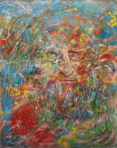LEONARDO DA VINCI - UOMO UNIVERSALE, acrylique sur jute, 3.30 x 4 m, 2018