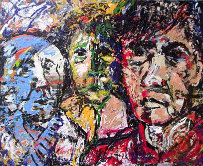 3 ROSTROS, acrylique sur bois, 100 x 120 cm, 1999