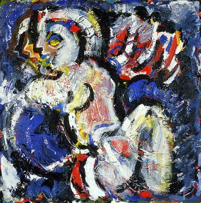 TROUBLE, acrylique sur toile, 100 x 100 cm, 1984
