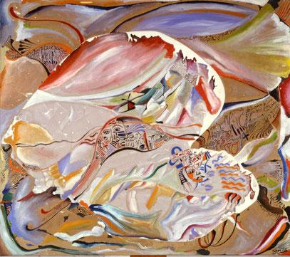 A MEDIANOCHE, huile sur toile, 100 x 100cm, 1988
