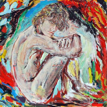 JEUNE HOMME, acrylique sur toile, 80 x 80 cm, 2020