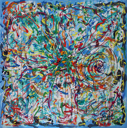 CRASH, acrylique sur toile, 100 x 100 cm, 2013