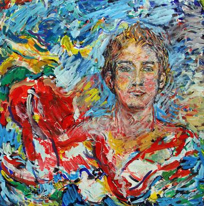 IL RAGAZZO, acrylique sur toile, 90 x 90 cm, 2020