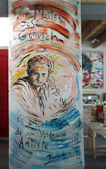 Mon Maître José Gurvich, acrylique sur support synthétique, 240 x 100 cm,  2017