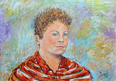 GARÇON EN CHEMISE ROUGE, acrylique sur toile, 100 x 70 cm, 2020