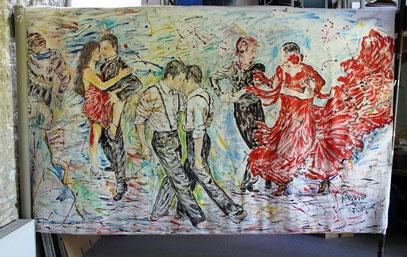 LA DANSE, acrylique sur toile, 10m x 2m15 - Partie Droite, 2020