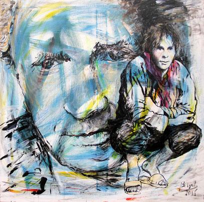EMMANUEL LÉVINAS - PHILOSOPHE, acrylique sur toile, 90 x 90 cm, 2006
