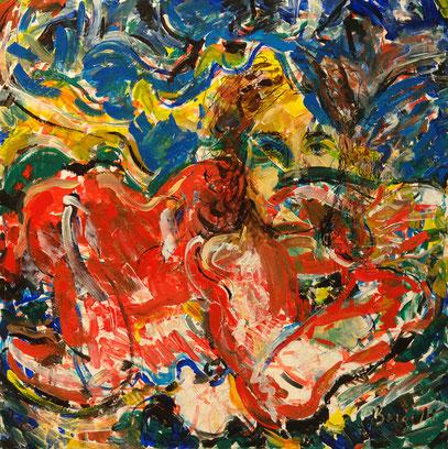 MAR ROJO, acrylique sur toile, 90 x 90 cm, 2005