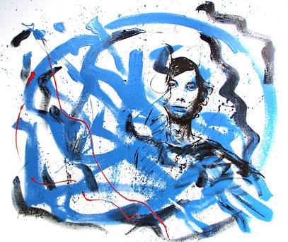 SURGIO DE UN AZUL PROFUNDO, acrylique sur toile, 120 x 100 cm, 2001