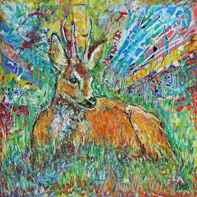 CHEVREUIL, acrylique sur toile, 100 x 100 cm, 2019