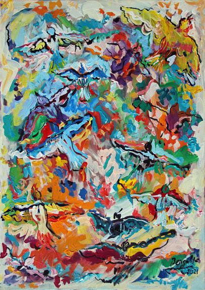UCCELINI, acrylique sur toile, 46 x 65 cm, 2021