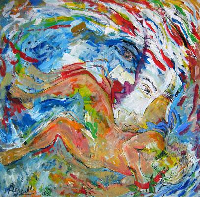 LA CAIDA, acrylique sur toile, 100 x 100 cm, 2009
