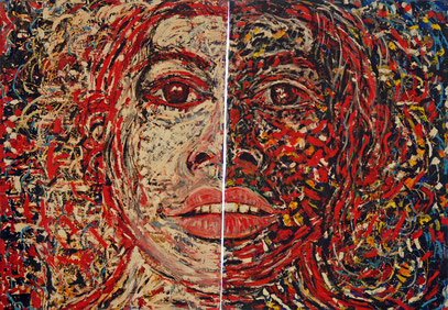 FEMME BLANCHE - FEMME NOIRE, acrylique sur toile, 4.40 m x 3;50 m , 1995