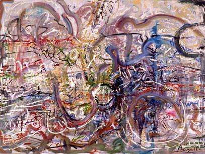 GÉNÉALOGIE, huile sur toile, 200 x 150 cm, 1992