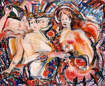 SEVENSONGS, huile sur bois, 120 x 100 cm, 1995